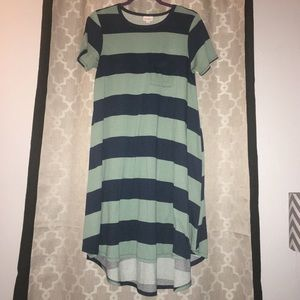 LulaRoe Carly Hi-Lo Dress in Blue/Green Stripe